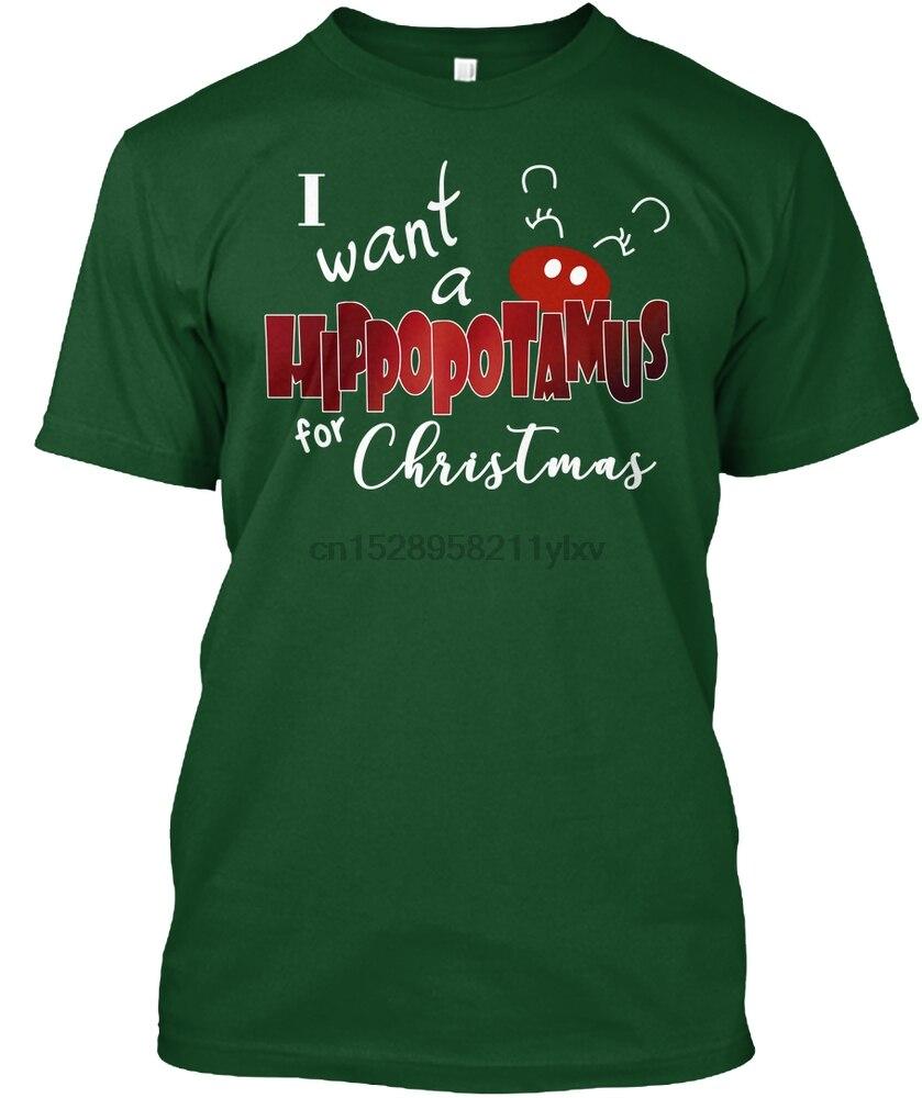 Camiseta de hombre quiero un hipopótamo camiseta de Navidad (1) camisetas de mujer