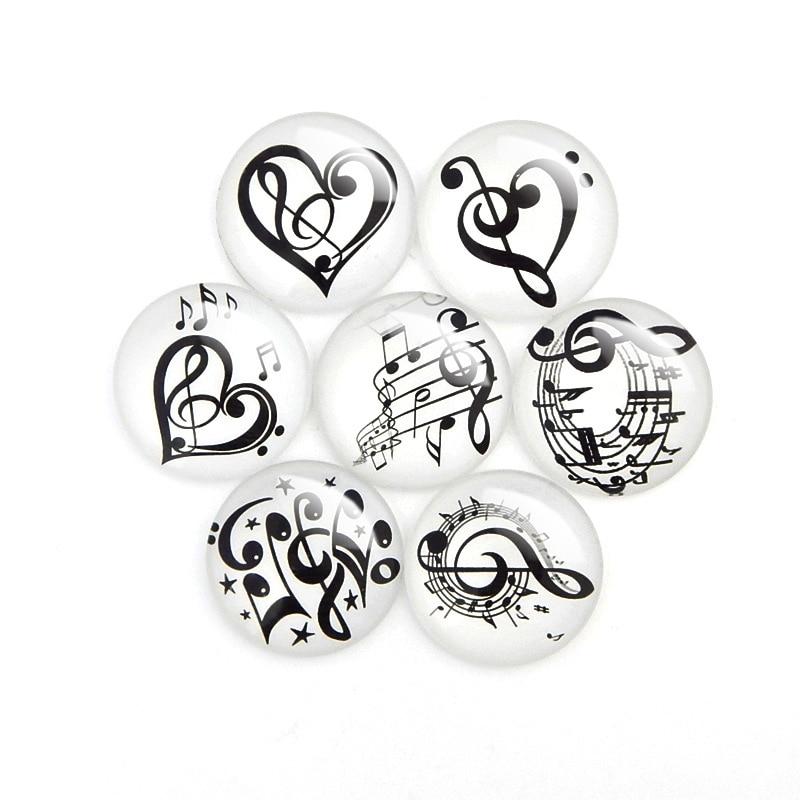 10 unids/lote, collar de cabujón de cristal redondo con diseño de nota musical, DIY, Parche de cristal, cúpula, Parte posterior plana, hallazgos de joyería, mezcla aleatoria