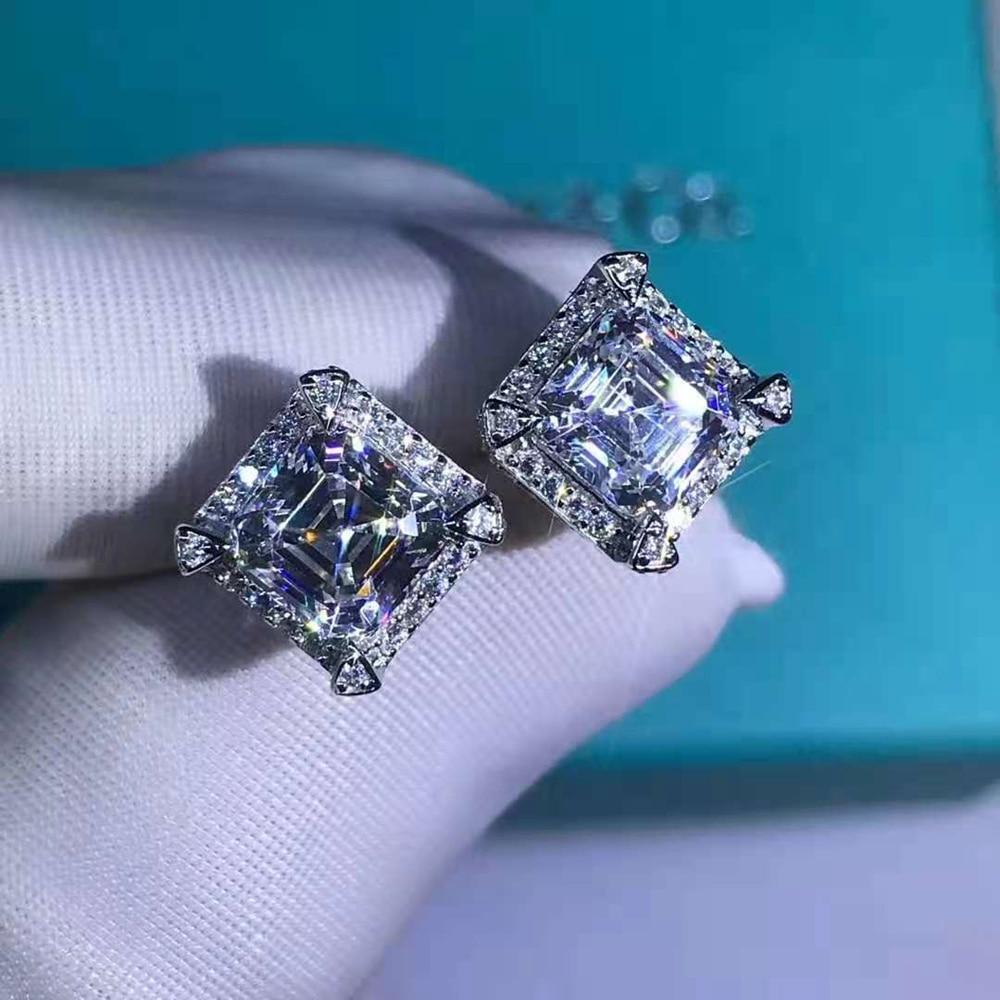 Wong Rain 925 Sterling Silver Asscher Cut 2 CT D Created Moissanite Gemstone Ear Studs Earrings Customized Studs Fine Jewelry