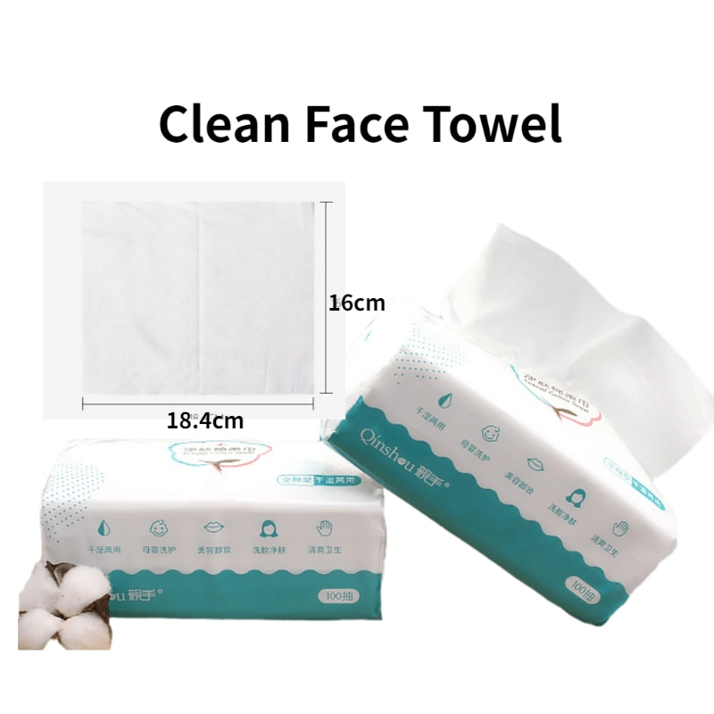 Toalla para cosméticos de algodón desechable de 100 uds, para limpieza facial, no tejido, toallitas de papel para maquillaje, toallitas antisépticas para limpieza facial