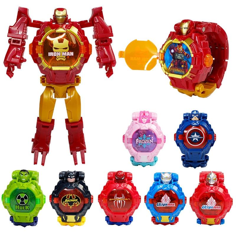 Disney marvel relógio deformação relógio eletrônico, relógio das crianças, brinquedo dos desenhos animados, homem-aranha, capitão américa, robô transformado, relógio menino