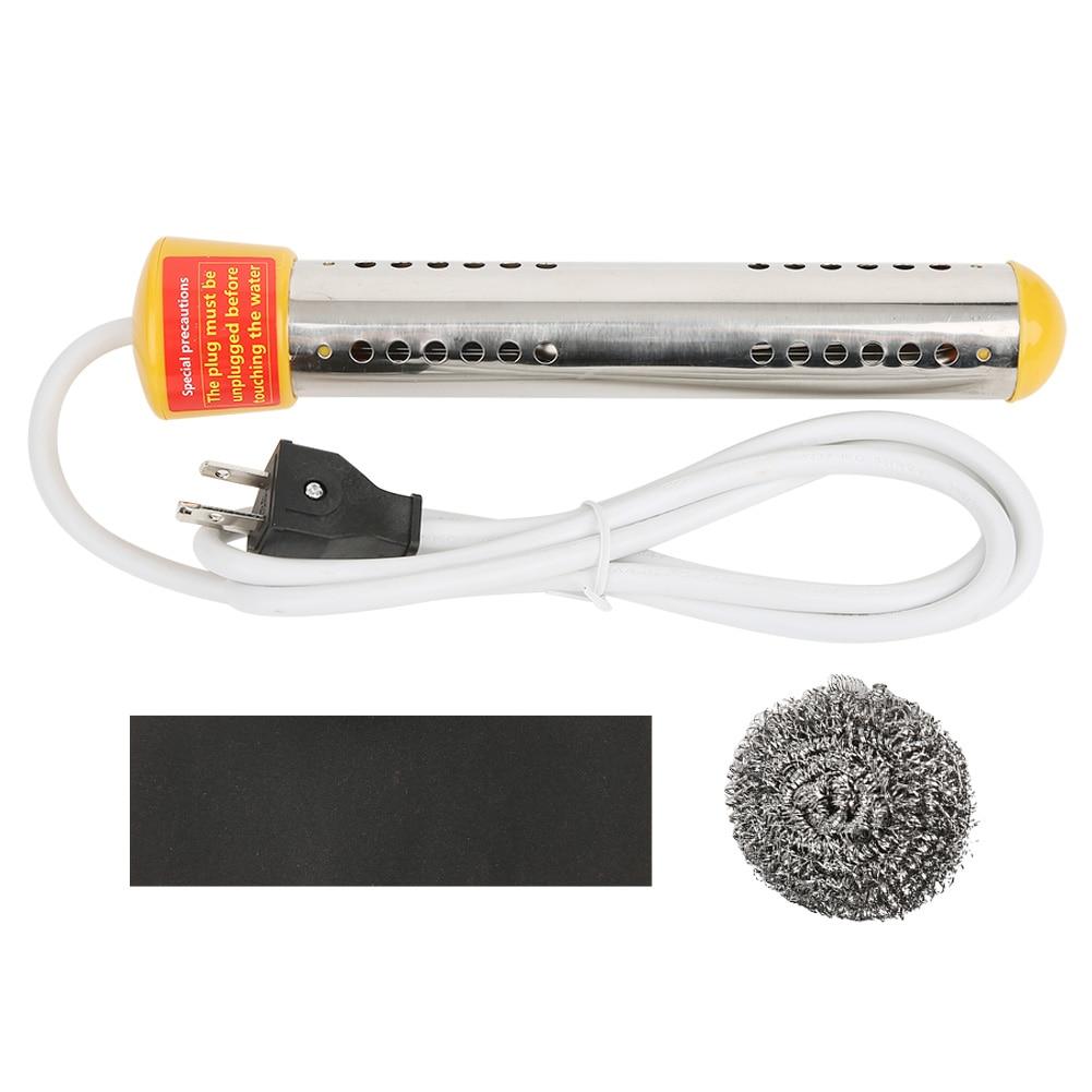 Calentador de inmersión de 2000W, calentador de agua eléctrico de inmersión en el hogar, varilla de calentamiento de 1,5 m, enchufe estadounidense de 110V, amarillo
