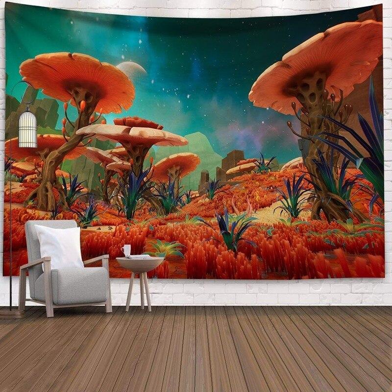 Fluorescente Cogumelo Castelo Tapeçaria Tapeçaria de Arte Da Natureza Céu Estrelado Galáxia Psicodélico Tapete Tapeçarias Da Árvore de Floresta Mágica