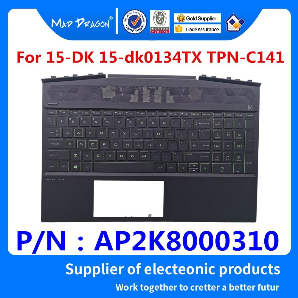 NUEVA cubierta superior del reposamanos del Teclado retroiluminado verde de los EE. UU. original para HP Pavilion 15-DK 15-dk0134TX TPN-C141 AP2K8000310