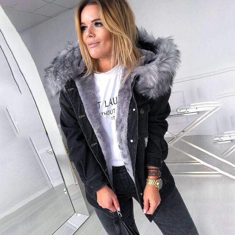 Winter jacket women denim coats fur jacket Faux Hooded Jean Thick Long Sleeve Frayed Overcoat Plus S