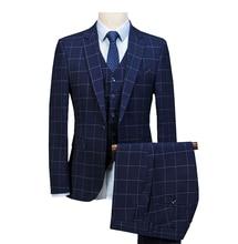 Garnitur męski Royal Blue 3 szt. Męskie garnitury Plaid Slim Fit garnitury ślubne Groom Tweed wełniane smokingi na ślub (kurtka + spodnie + kamizelka)