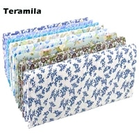 teramila grid pattern blue floral plain 100 cotton printed patchwork cloth fabric for art sewing diy handmade crafts needlework