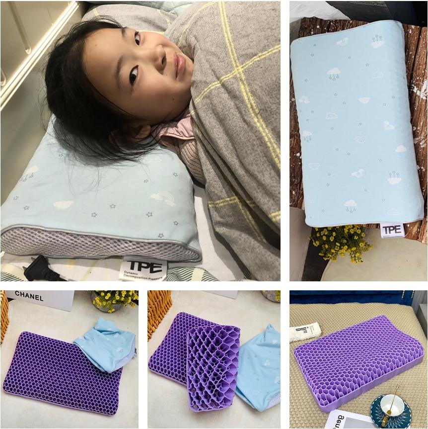 NEW 3D TPE Gel Honeycomb Non-Pressure Multifunctional Child Pillow High Elasticity Correction Neck Pain Massage Memory Pillow