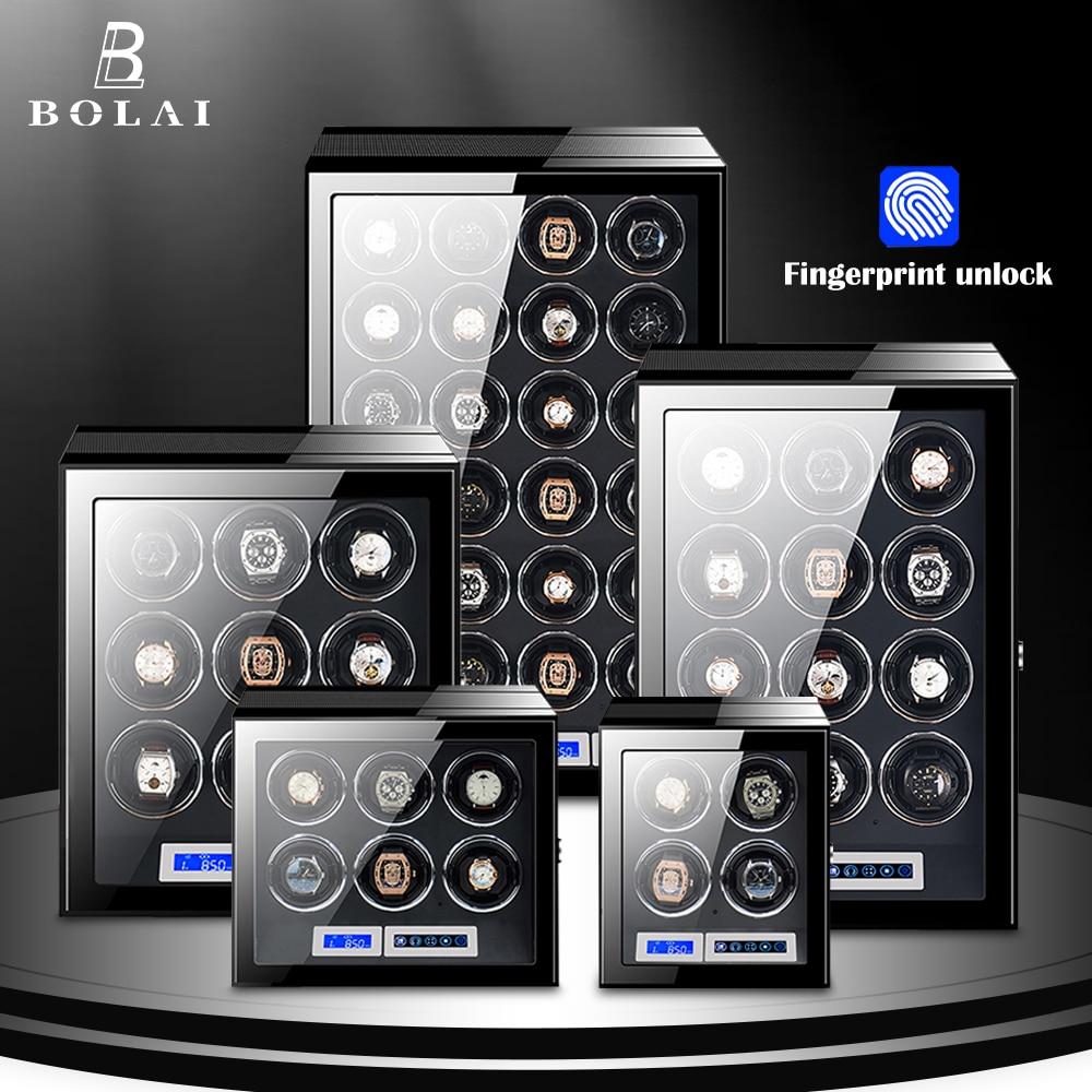 بصمة إفتح ملفاف ساعة العلامة التجارية الفاخرة صندوق ساعة أوتوماتيكية مع شاشة LCD تعمل باللمس الساعات الخشبية صندوق الأمان التخزين