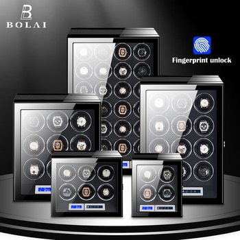 Fingerprint Unlock Watch Winder Luxury Brand Automatic Watch Box with LCD Touch Screen Wooden Watches Storage Safe Box Case