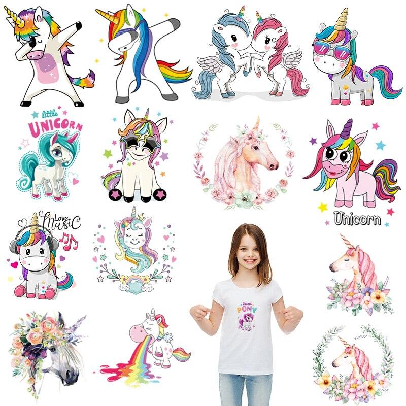 Dibujos Animados pequeños unicornio hierro en parches transferencia de calor para rayas en ropa niño niña camiseta DIY pegatina personalizada parches térmicos