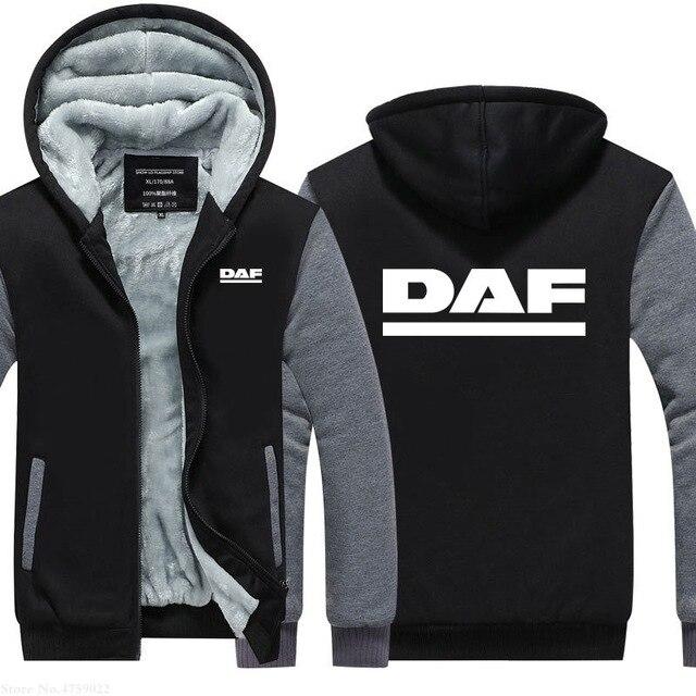 men Hoodie Winter Thickening male Truck fans for DAF sweatshirts zipper hoodies coat male for Hoodies jacket  D