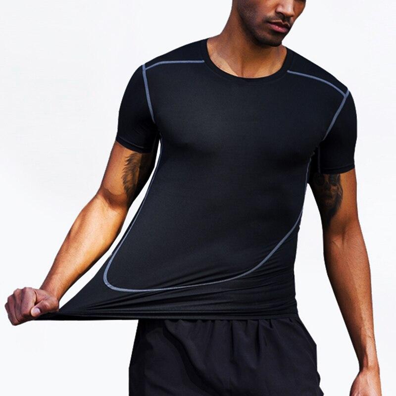 Мужские футболки с коротким рукавом 2021, летние компрессионные колготки, спортивные быстросохнущие мужские модные футболки для спортзала и ...