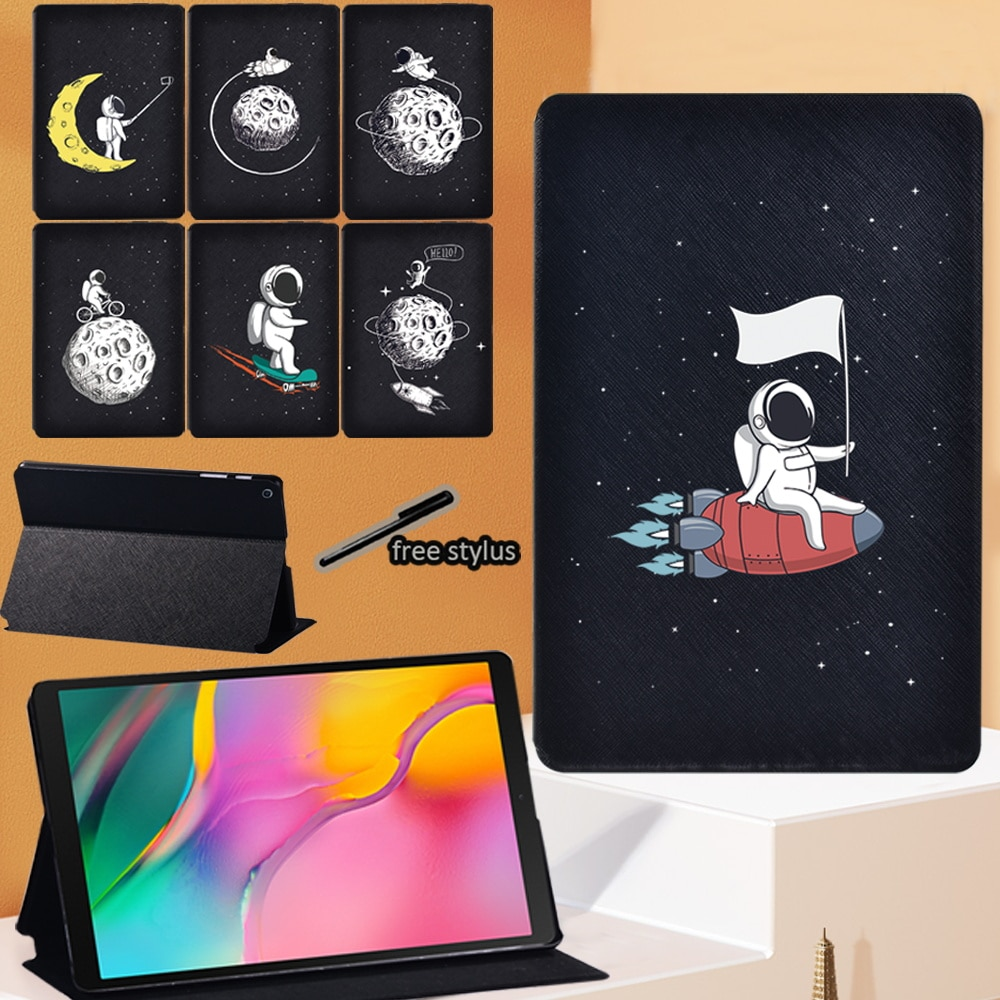 For Samsung Galaxy Tab A 8.0 Inch SM-T290/T295 (2019) PU Leather Tablet Stand Cover Case - Astronaut Print Series Pattern Case