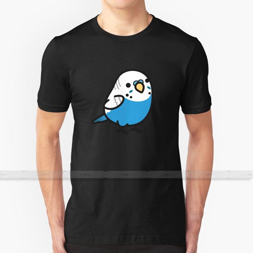 Camiseta azul regordeta para hombre y mujer, camisetas de verano de algodón, tallas grandes S a 6XL, para periquito, loro, pájaros, bonitos