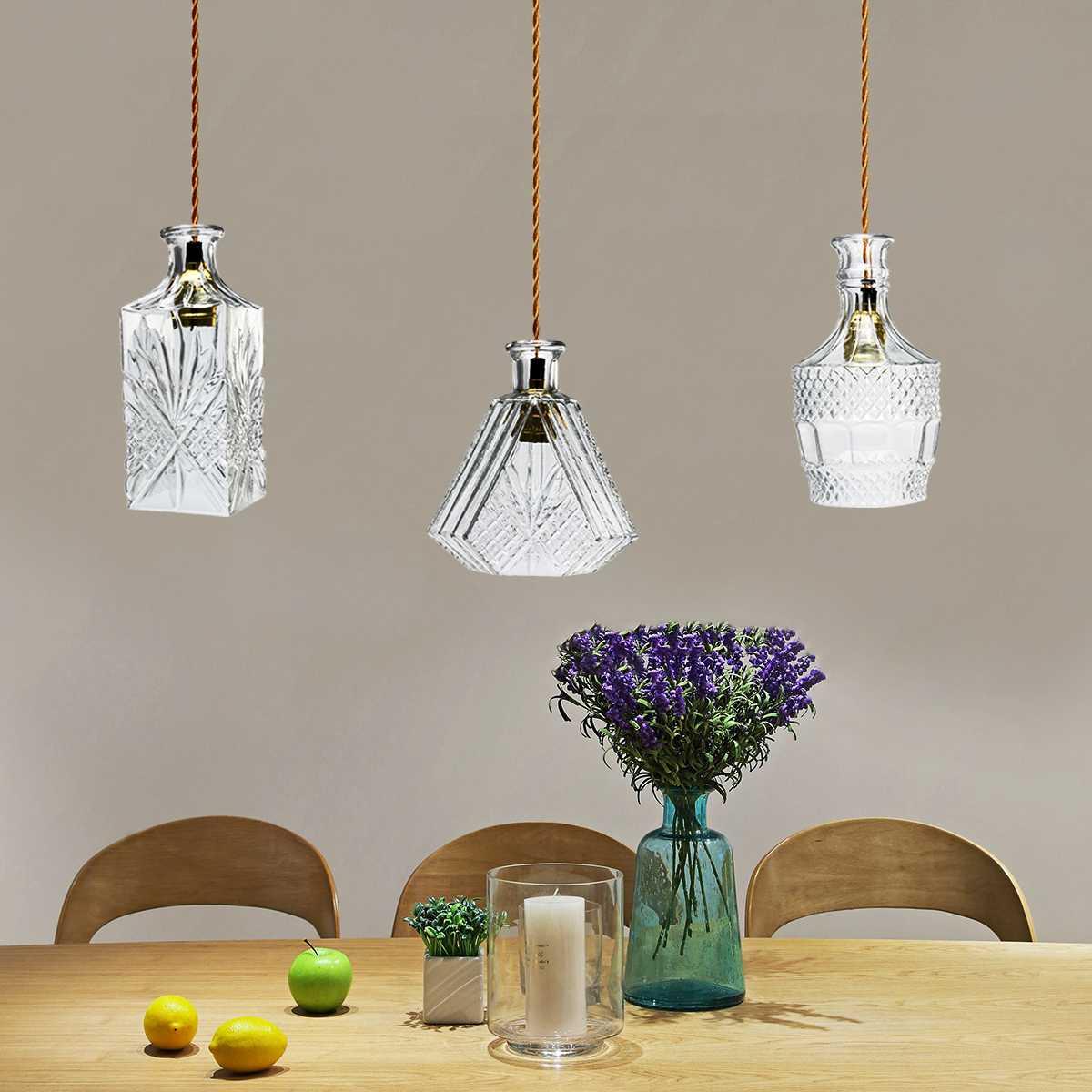 Vintage decantador botella lámpara de luz colgante, accesorio de restaurante, café arte lámparas colgantes decoración de techo del hogar