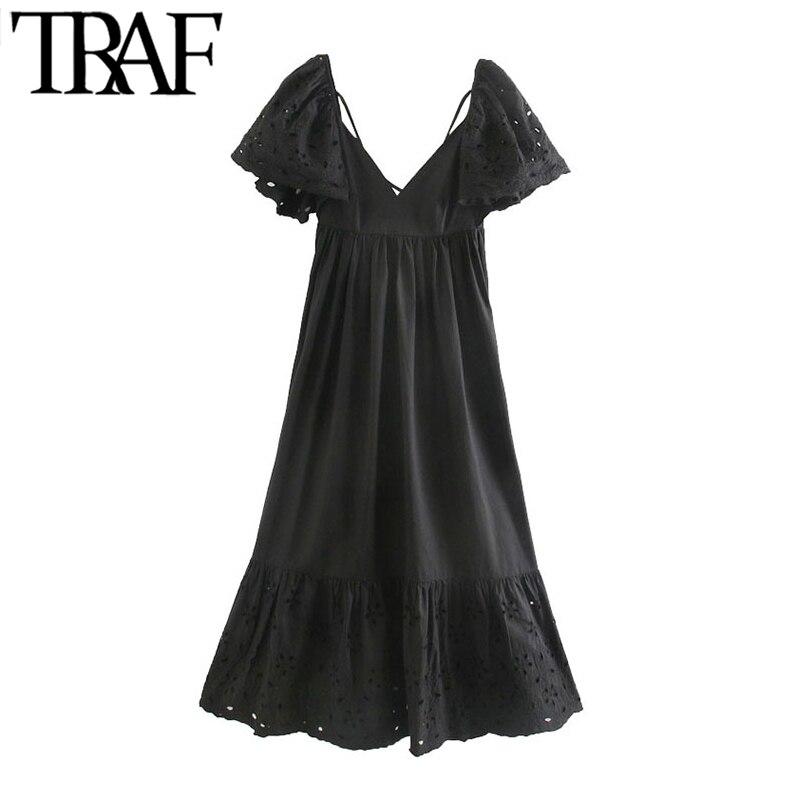 Женское платье-миди TRAF, винтажное платье с вышивкой, оборками, рукавами сзади, перекрещивающимися тонкими бретелями