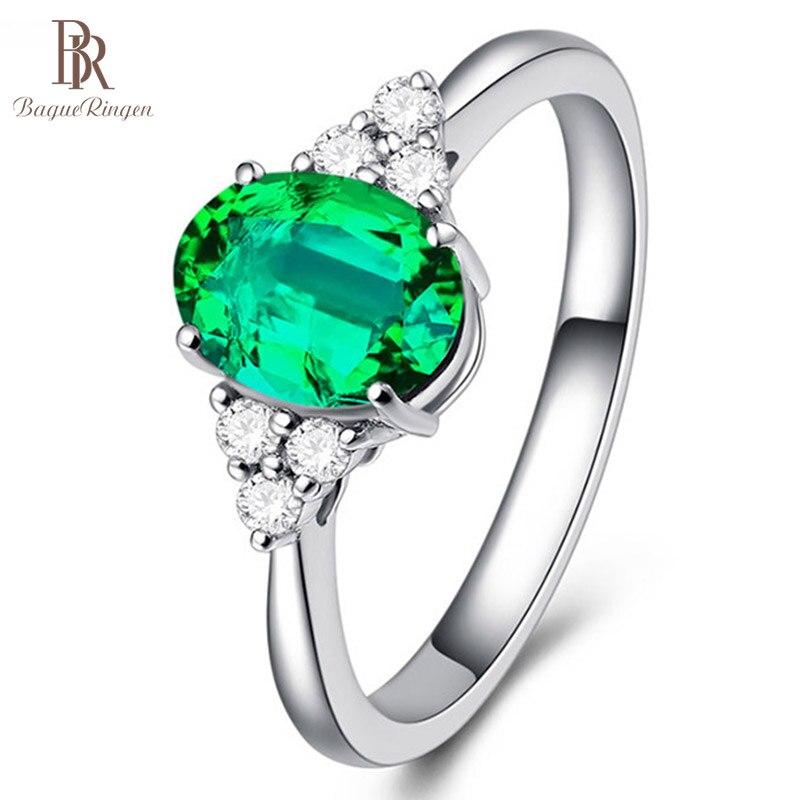 Bague Ringen anillo de nuevo diseño joyería de plata anillos de dedo con incrustaciones de circonio apertura ajustable Color verde esmeralda piedras preciosas para mujer