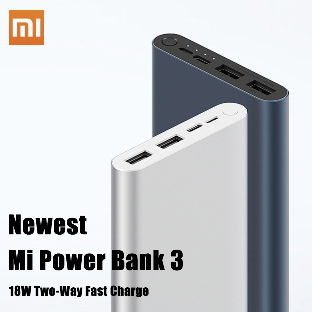 Xiao mi Original mi Power Bank 3 2 18W 10000mAh Quick Charge Dual-USB Alu mi tausends power Schnelle Ladegerät Tragbare Externe Batterie