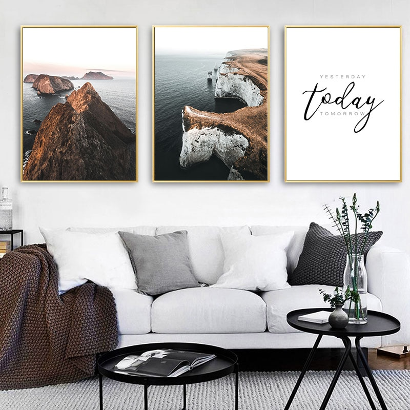 Natur Landschaft Leinwand Poster Nordic Stil Meer Wellen Inspirational Wand Kunstdruck Malerei Zitate Skandinavischen Hause Dekoration