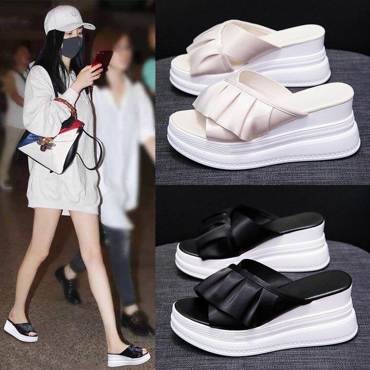 Chinelos com Inclinação-calcanhar Sapatos de Plataforma de Sola Chinelos de Salto Feminino Novo Verão Moda Grossa Alto 2021