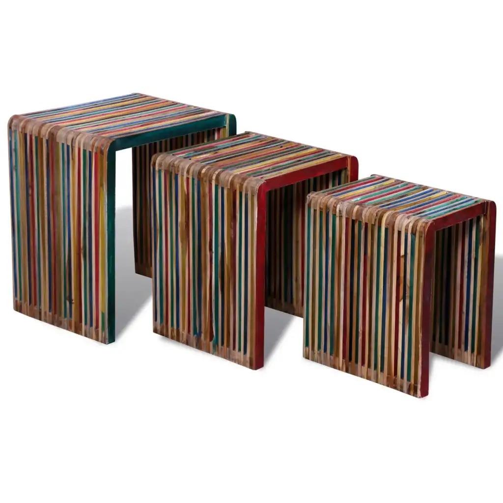Juego de mesa de nidificación VidaXL 3 piezas coloridas taburetes de comedor de teca reciclados para mesa de café y sillas de espacio