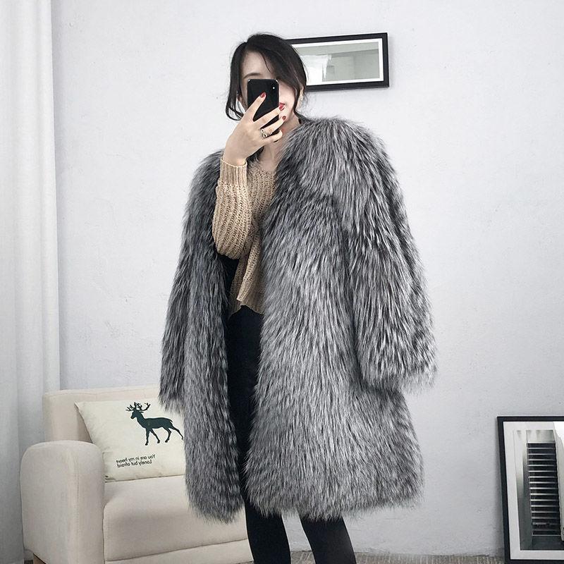Женское длинное меховое пальто, Повседневная теплая парка с V-образным вырезом и искусственным лисьим мехом, Осень-зима