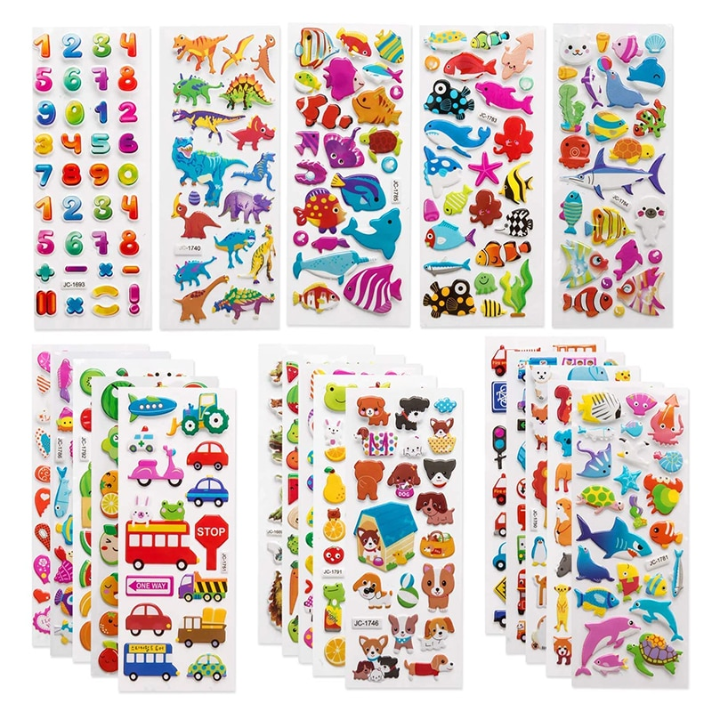 3D Stickers for Kids Toddlers 20/8 Different Sheets 3D Puffy Bulk Sticker Cartoon Education Classic Toy Children Boys Girl Gifts
