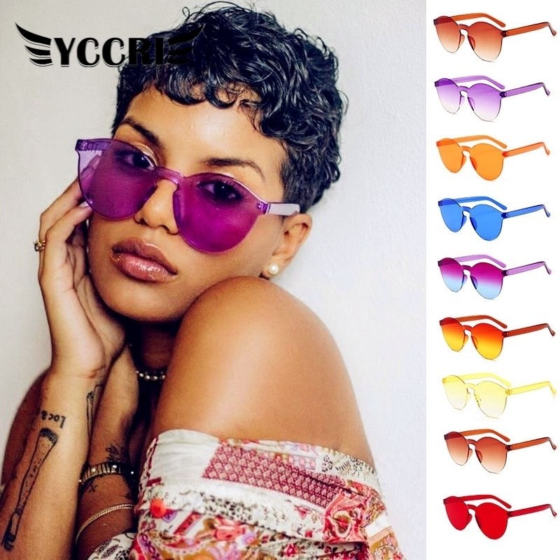 2020 Rimless Fram Candy Cat Eye Sunglasses Women Luxury Eyewear Sun Colorful Round Sun Glasses Women