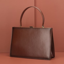 Burminsa Ladies Clasp Genuine Leather Bag Women Luxury Tote Bag Designer Handbags High Quality Women Mental Bag Box Packing 2020