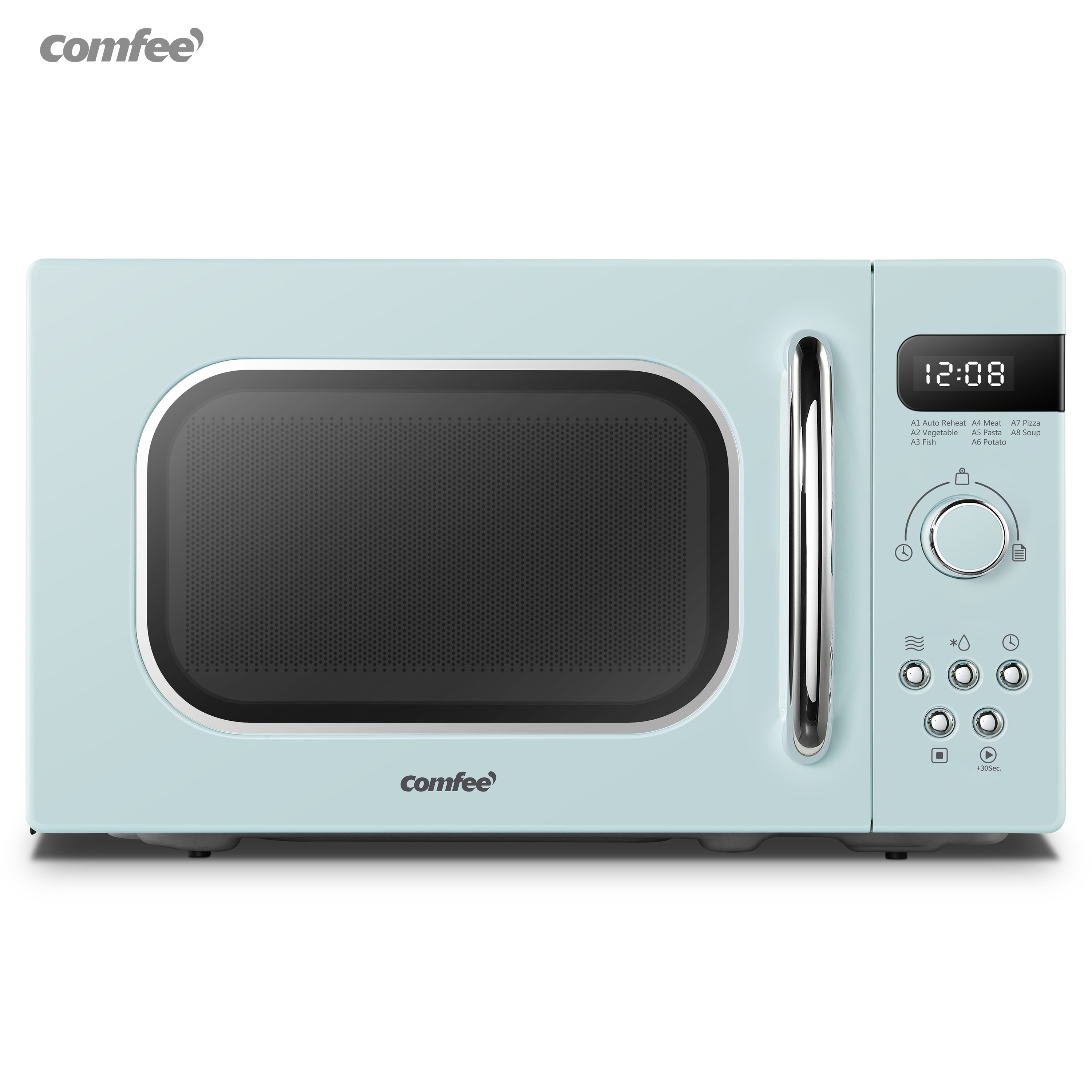 rotary microwave oven fully automatic 6 speed adjustable unified temperature control 20l low power consumption lightweight new COMFEE Blue Retro Style 800w 20L Microwave Oven With 8 Auto Menus 5 Cooking Power Levels and Express Cook Button Apricot Cream