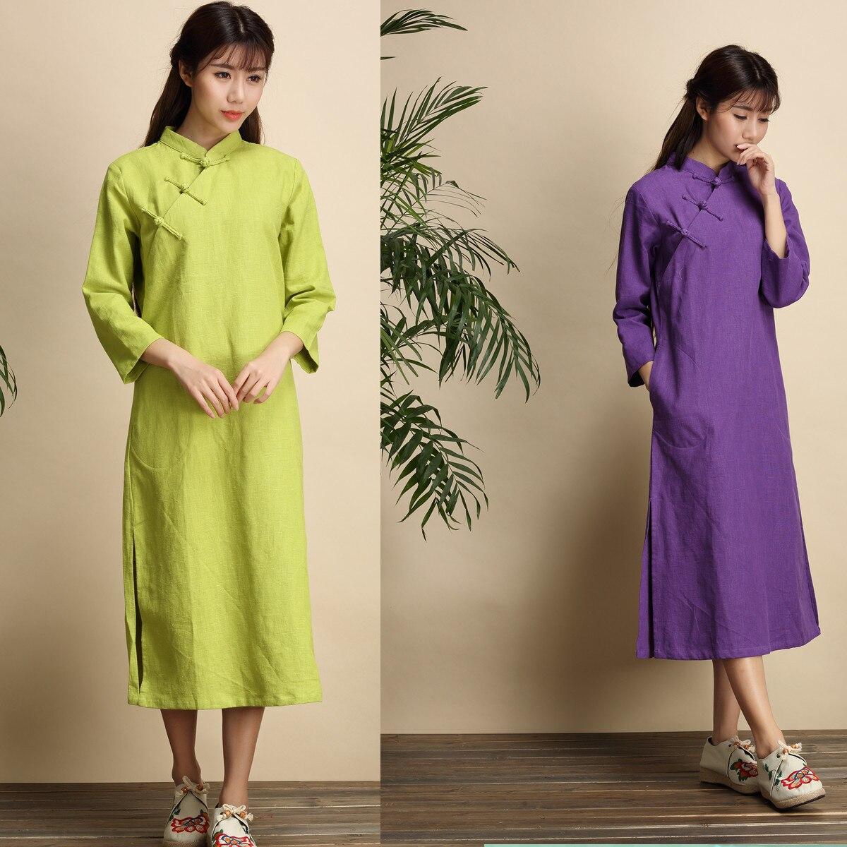 Stylewomens retrolock Neck,slimplatebuckle, longitud media, vestido cheongsam de manga de 9 puntos, traje de estilo nacional chino