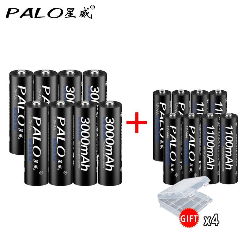 PALO 4шт. 1,2 В большой емкости батарейки АА 3000 мАч + 4шт батарейки 1100 мАч АА / ААА 3А аккумуляторная батарея с подарочным чехлом pilas recargables батарейк...