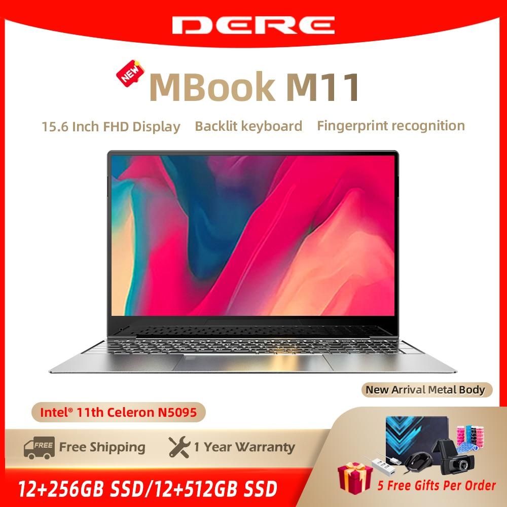 Get DERE MBook M11 15.6 Inch FHD Laptop Intel Celeron N5095 12GB ROM 256/512 GB Backlit Notebook Windows 10 Fingerprint Recognition