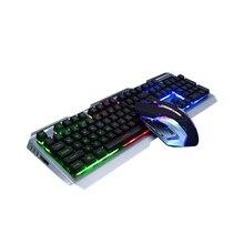 Regenbogen Tastatur USB Gaming Maus Tastatur Mit Atem Licht Ergonomische Wired Gaming Tastatur Set Einstellbare DPI Für PC Laptop