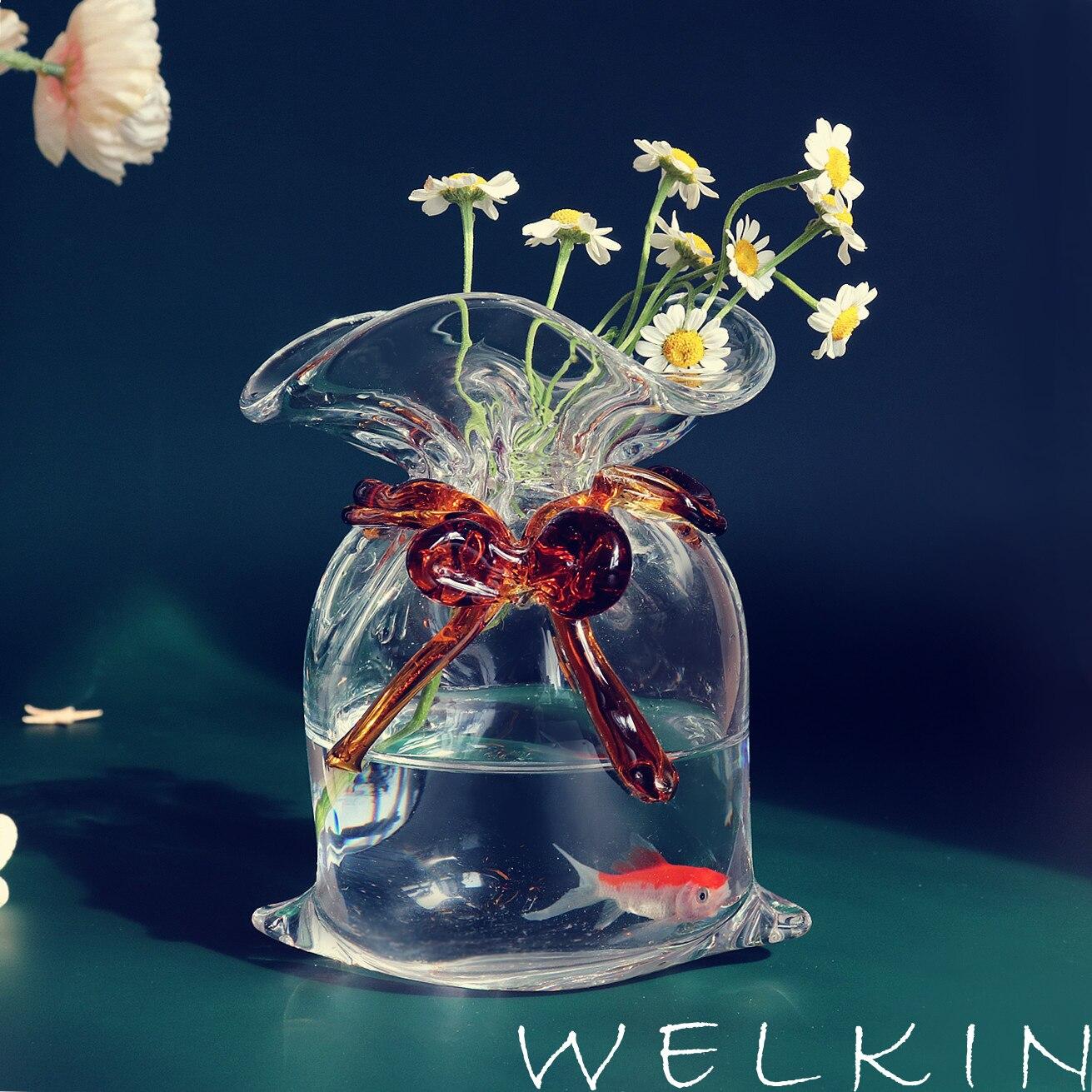 المال الإبداعي اليدوية الزجاج حقيبة زهرية حقيبة المال إيداع خزان الديكور العملي الزجاج الحلي زهرة الزراعة المائية