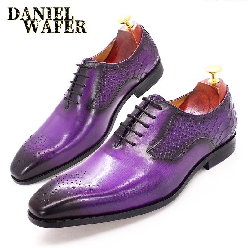 أكسفورد-حذاء جلد أصلي فاخر للرجال ، حذاء رسمي برباط أسود وأرجواني مع جلد الثعبان مطبوع