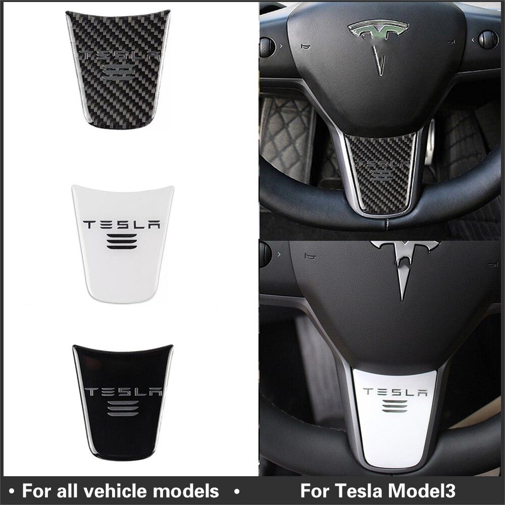 Accesorios para interiores Model3, cubierta de decoración para volante de coche, pegatina deportiva para modificación, accesorios para Tesla Model 3