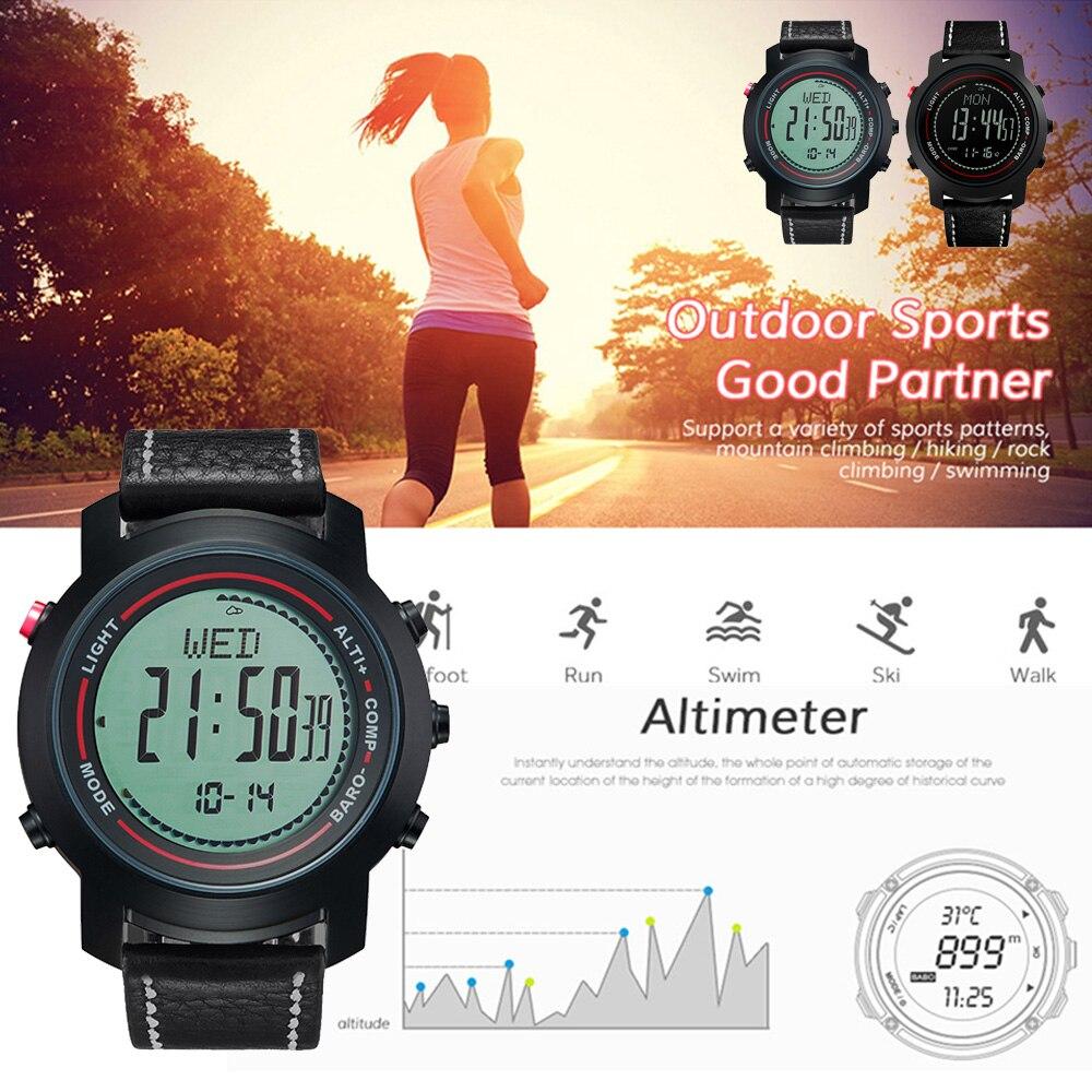 MG01 уличные спортивные Смарт часы наручные часы компас высотомер барометр кожаный ремешок модные уличные часы Relogio
