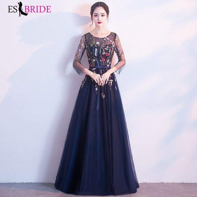Купить с кэшбэком 2020 Formal New Fashion  Women Vintage Elegant Sexy 3/4 Sleeve Pleated Velvet Long Dress ES1215 plus size bridesmaid dress