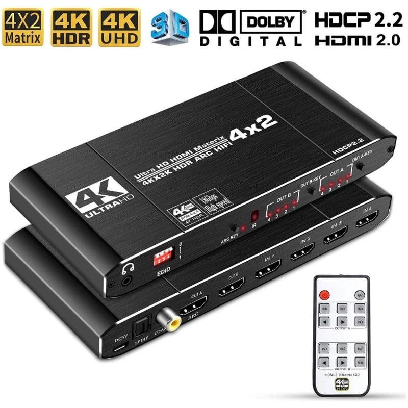 Матричный коммутатор 4x2 HDMI 2,0, сплиттер 4K @ 60 Гц 4:4:4, коммутатор 4 в 2 выхода с ИК-пультом дистанционного управления, поддержка ARC HDCP 2,2