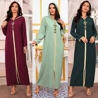 hand sewn drill robe abaya 3d stereogram dubai turkish islam muslim headscarf dress african womens robe arab dress