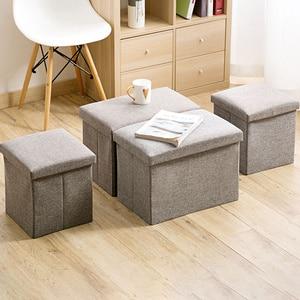 Linen Fabric storage Stool Foldable household Coffee Table Sofa Footstool Ottoman storage box change shoe bench mx9171609