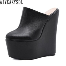 AIYKAZYSDL Women PU Leather Sandles Slides Mules Platform Ultra Very High Heel Creepers Casual Shoes
