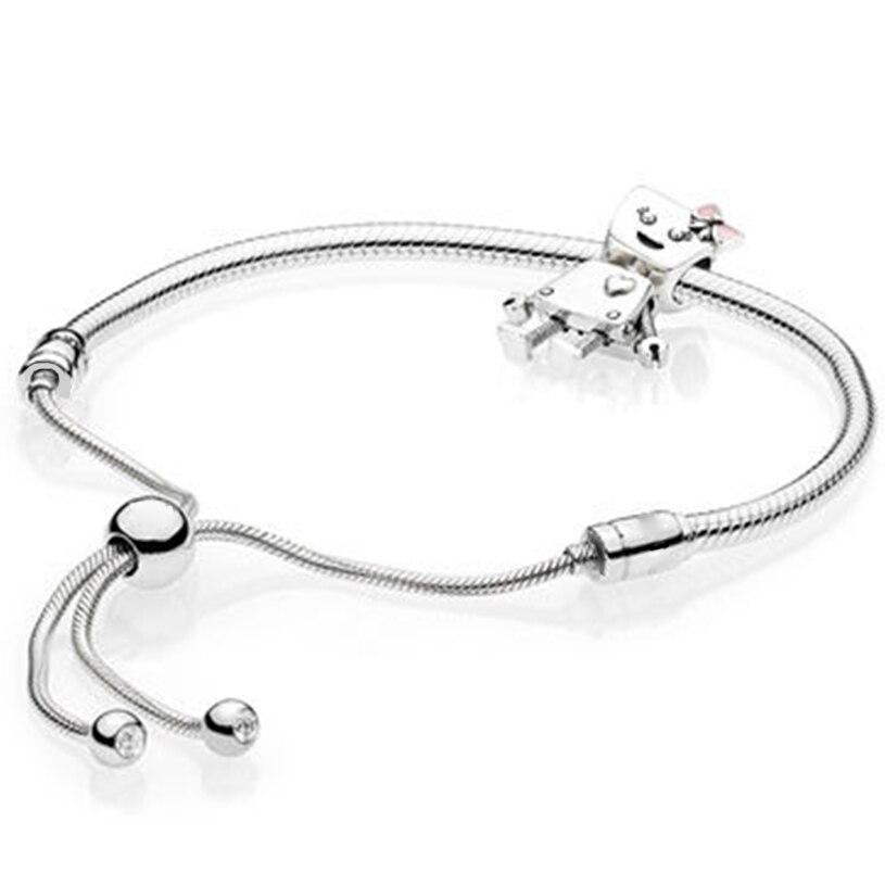 Novo 100% prata esterlina marca nova 11 paixão charme robô com pulseira conjunto para 2018 brilho design original presente para as mulheres