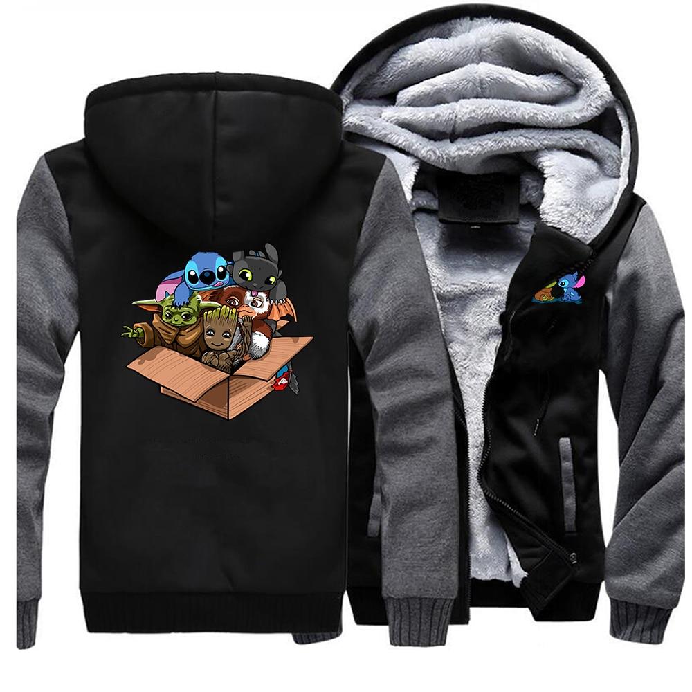 Kawaii Full Team Hoodies Sweatshirts Men Baby Yoda Stitch Groot Hoodies Winter Thick Coat Men Warm Fleece The Mandalorian Hoodie