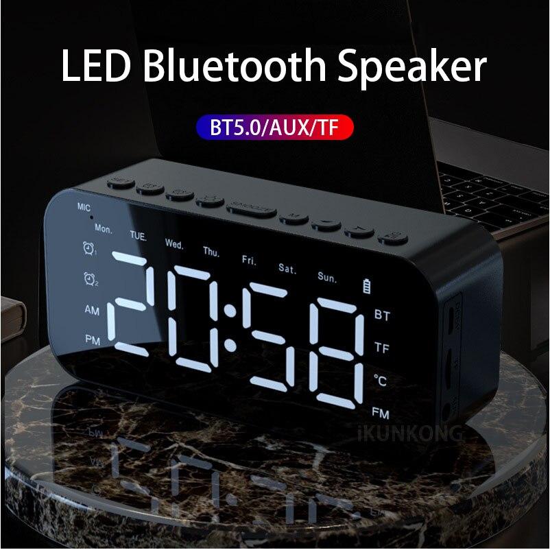 Minialtavoz Portátil con Bluetooth, altavoz De Radio FM LED, despertador, reloj De...