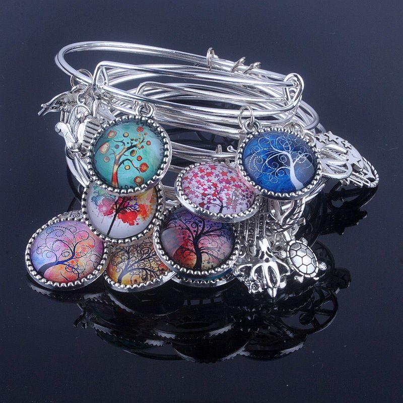 18 Styles Cabochon dôme arbre de vie bracelet à breloques réglable extensible fil bracelets pour femmes bijoux fins