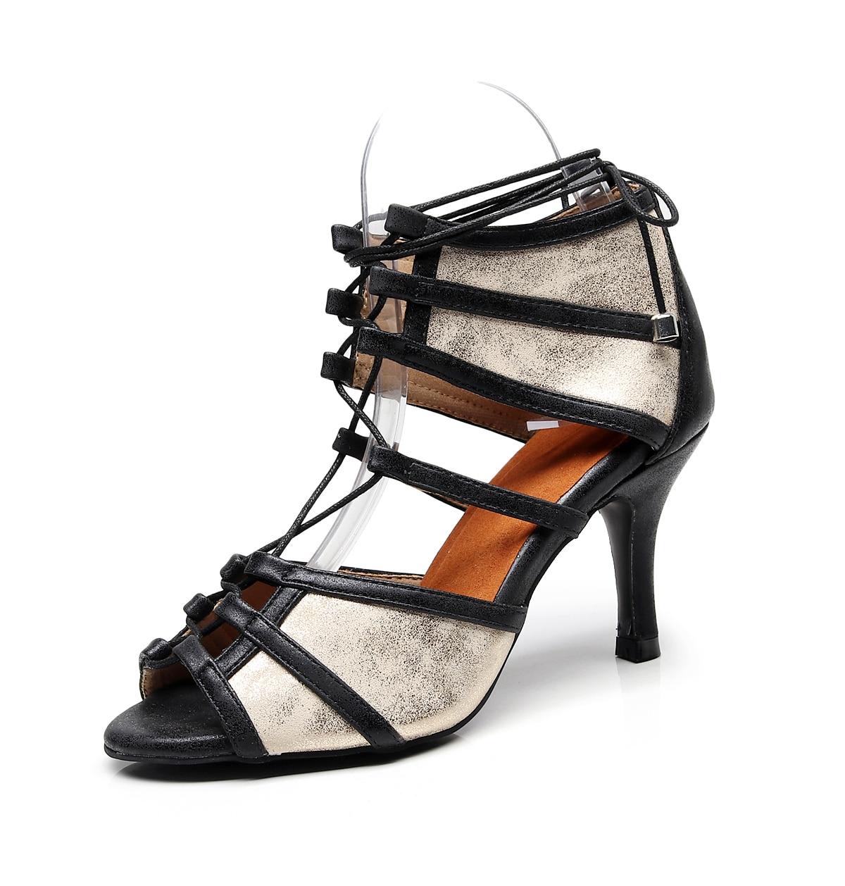 2019 nuevos zapatos de tacón alto de PU para mujeres de zapatos de baile Latino, zapatos de baile de salón Tango Latino, zapatos de baile negro para chicas EU34-43