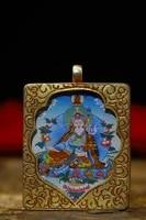 2tibet temple old bronze gilt thangka padmasambhava amulet pendant town house exorcism ward off evil spirits